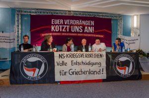 Podium des Hearings »NS-Verbrechen benennen | Opfer entschädigen | Rechte Traditionspflege angreifen« am 14.Mai in Bad Reichenhall.